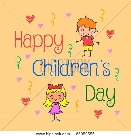 Background childrens day doodle style vector illustration