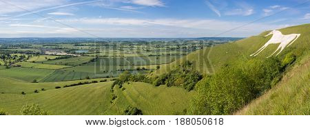 View from Westbury White Horse. Hill figure created by exposing white chalk on the escarpment of Salisbury Plain in Wiltshire UK