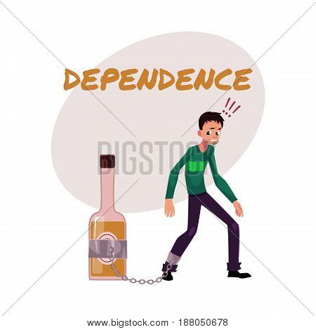 Financial dependence poster, banner template with man standing with leg chained to bottle of liquor, alcohol dependence, cartoon vector illustration isolated on white background.