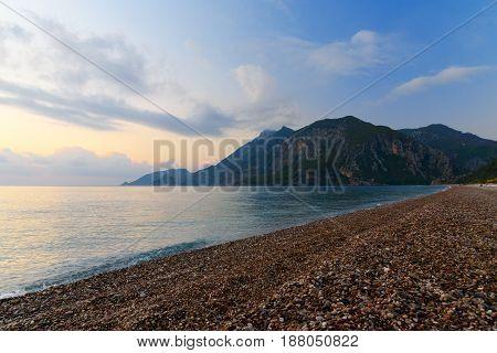 Cirali Beach In The Morning At Sunrise. Turkey