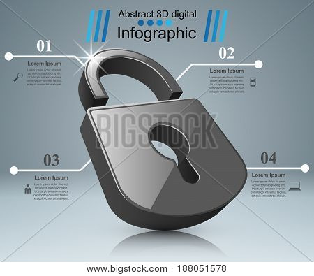 Business Infographics origami style Vector illustration. Lock logo.