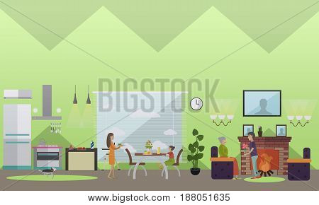 Vector illustration of living room interior, young mother serving dinner, son giving flowers to his elderly mother. Childcare, parenting and maintenance of senior parents flat style design elements.