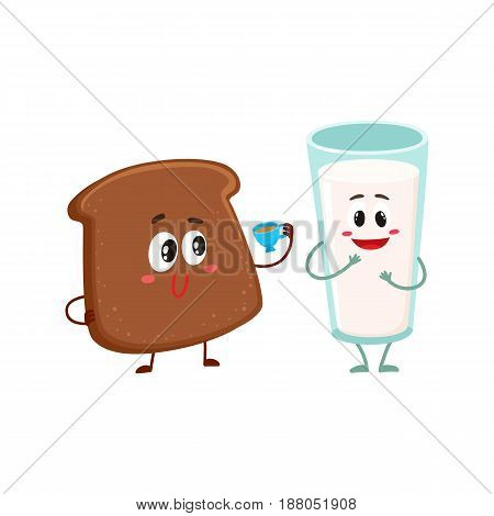 Funny dark, brown bread slice and milk glass characters, breakfast combination, cartoon vector illustration isolated on a white background. Brown bread slice and glass of milk characters, mascots