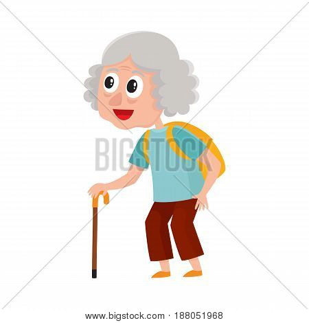 Old, senior woman, tourist with backpack and stick on vacation tour, cartoon vector illustration isolated on white background. Full length portrait of old lady, woman tourist on sightseeing tour
