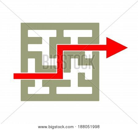 Overcome Labyrinth Like Problems. Conceptual Vector Illustration Of A Labyrinth Maze Showing Way In And Out.