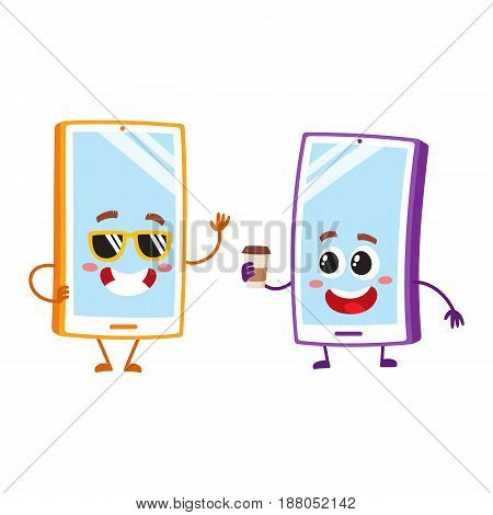 Two cartoon mobile phone characters, one in funky sunglasses, another holding paper coffee cup, vector illustration isolated on white background. Two cartoon mobile phone, smartphone characters