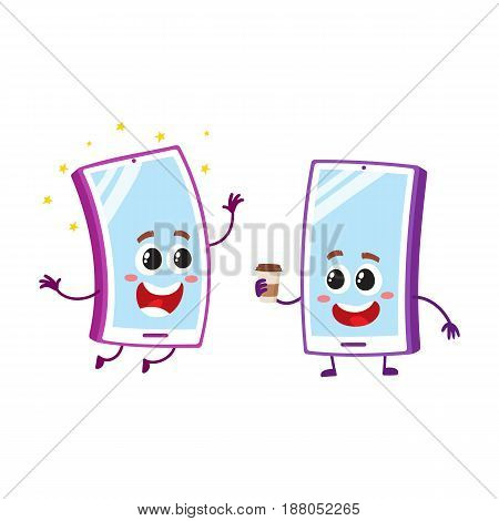 Two cartoon mobile phone characters, one arms up, another holding paper coffee cup, vector illustration isolated on white background. Two cartoon mobile phone, smartphone characters