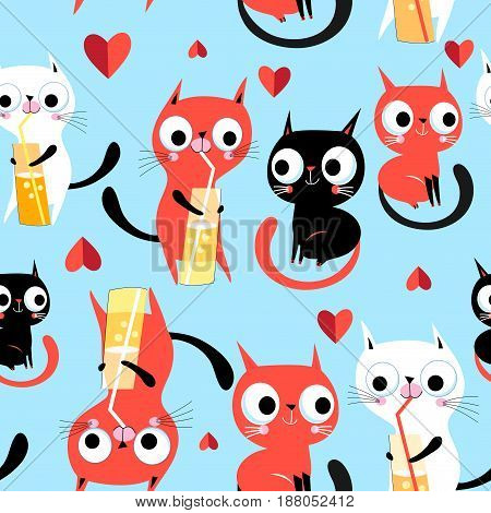 Seamless bright funny pattern enamored kittens on a blue background