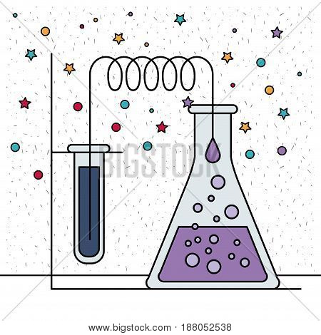 white background with sparkles of test tube connected to glass beaker vector illustration