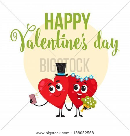 Valentine day greeting card, postcard, banner design with two heart characters having wedding, cartoon vector illustration. Valentine day greeting card design with two heart characters getting married
