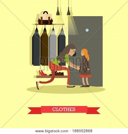 Vector illustration of mother dressing her daughter. Clothes concept design element in flat style.
