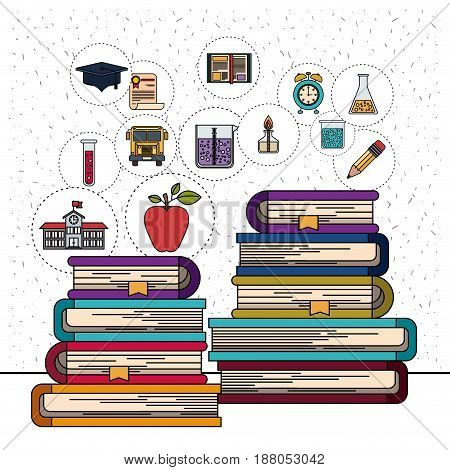 white background with sparkles of stack of books with education element icons vector illustration