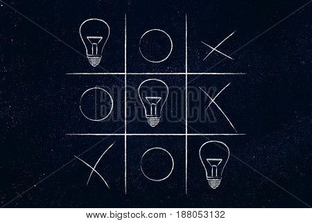 Tic Tac Toe Game With Line Of Lightbulbs Winning