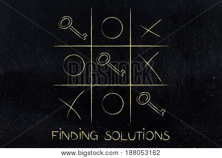 Tic Tac Toe Game With Line Of Keys Winning