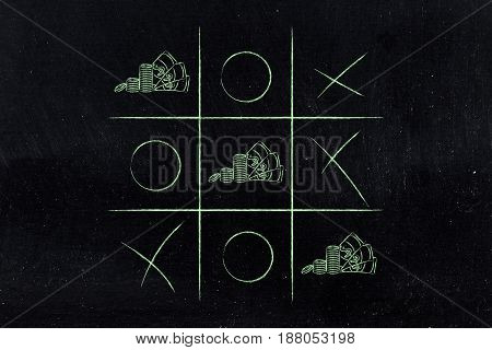 Tic Tac Toe Game With Line Of Cash Winning