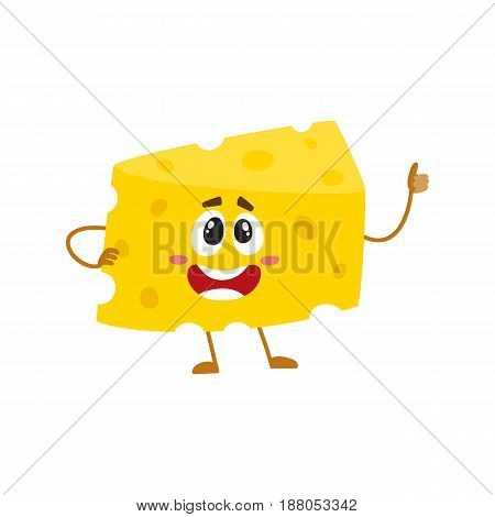Funny cheese chunk character showing thumb up, good quality concept, cartoon vector illustration isolated on white background. Funny cheese piece character, mascot with human face giving thumb up