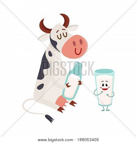 Funny smiling farm cow sitting and glass of milk standing characters, cartoon vector illustration isolated on white background. Cute and funny cow with bottle of milk and glass of milk characters