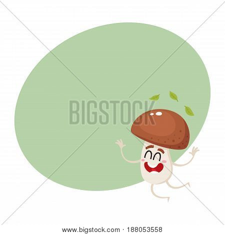 Funny porcini mushroom character jumping from happiness, cartoon vector illustration with space for text. Happy porcini mushroom character jumping, throwing leaves