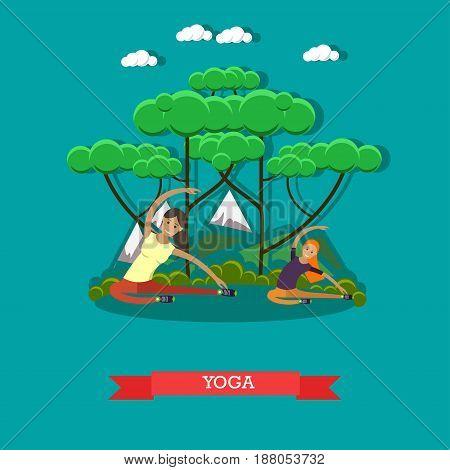 Vector illustration of pregnant women practicing yoga. Yoga for pregnant women flat style design element.