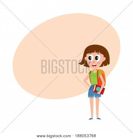 Young pretty woman, tourist with backpack and guide on vacation tour, cartoon vector illustration with space for text. Full length portrait of young woman, girl tourist on sightseeing tour