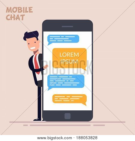 Instant messaging service. Happy businessman or manager is standing near a large phone or smartphone. Messaging service. Sms messenger. Flat character in flat style isolated on color background