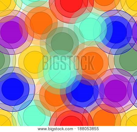 Cheerful background with transparent overlapping circles in rainbow colors