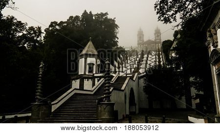 Stairway to Santuario do Bom Jesus do Monte in Braga Portugal