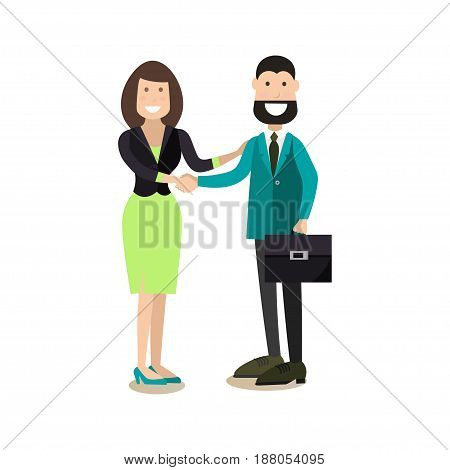 Vector illustration of businessman and businesswoman making a great deal and shaking hands. Office people flat style design elements, icons isolated on white background.