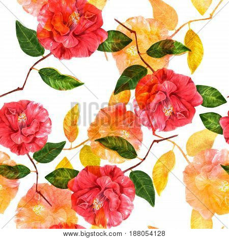 A seamless background pattern with red and golden toned watercolor camellia flowers with green leaves