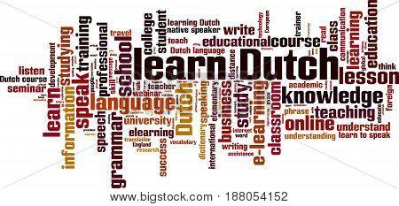 Learn Dutch word cloud concept. Vector illustration
