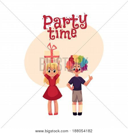 Kids, boy in clown wig and red nose, girl holding birthday gift, , cartoon style invitation, banner, poster, greeting card design. Party invitation, advertisement, Two kids, with clown nose, hair