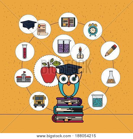 color background with sparkles of owl on stack of books with education element icons vector illustration