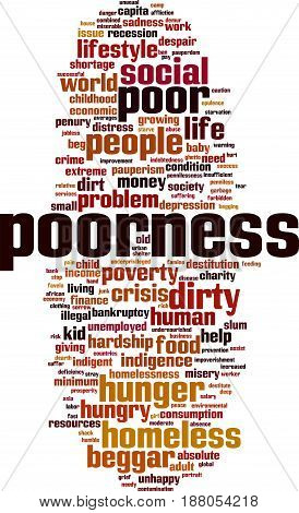 Poorness word cloud concept. Vector illustration on white