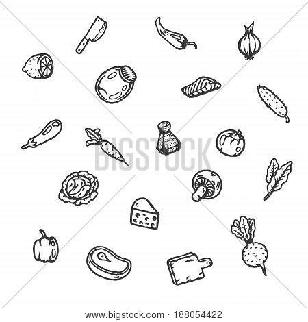 Set of food hand drawn doodles. Vector illustration.