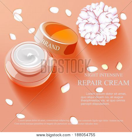 ight intensive repair cream contained in silver cosmetic jar with helical structure, 3d illustration