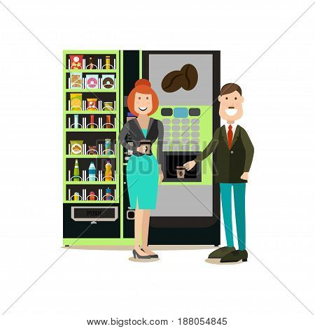 Vector illustration of business people taking coffee break. Coffee automatic machine and vending or food machine. Office people flat style design elements, icons isolated on white background.