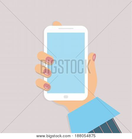 A mobile phone in the female`s hand. A smartphone in businesswoman`s hand. A sleeve of blue shirt and a burgundy striped suit. Red nails. Vector illustration.