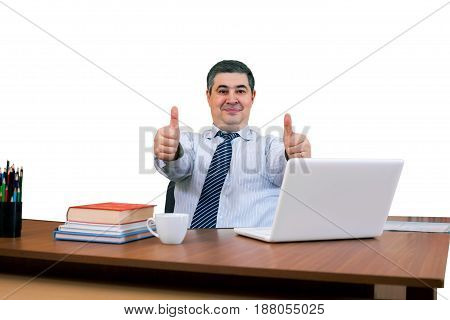 Successful dealer. Successful transaction. Thumbs up! All OK! Isolated on white.