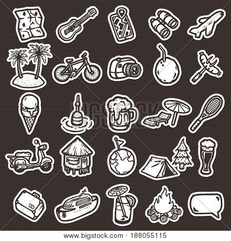 Set of hand drawn cartoon vacation icons.