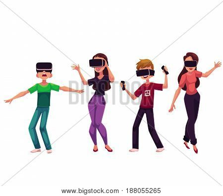 Boys and girls wearing virtual reality headsets, cartoon vector illustration isolated on white background. People wearing virtual reality simulators, headsets, devices, using computer technologies