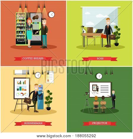 Vector set of business people posters. Coffee breaks, Boss, Businessman and Projector flat style design elements.