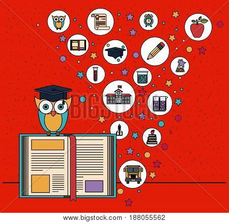 color background with sparkles of owl on book with education element icons vector illustration