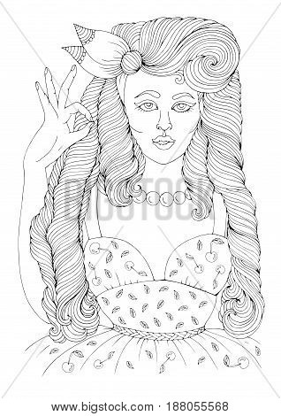 Vector hand drawn girl in pin-up style with long wavy hair In a vintage dress with cherries, shows sign OK. Patterned page A4 size for coloring pop art comic retro style