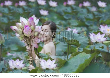 Woman With Lotus Flower
