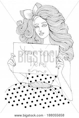 Vector hand drawn girl in pin-up style with long wavy hair holding empty blank board. Your text here, paper poster white background. Patterned page A4 size for coloring book pop art  retro style