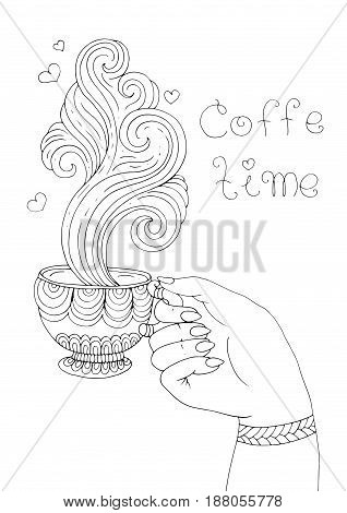 Vector hand drawn elegant lady hand holds a mug with a hot drink coffee and enjoys the delicious aroma of steam. Patterned page coffee time for coloring book A4 size. Isolated on white background