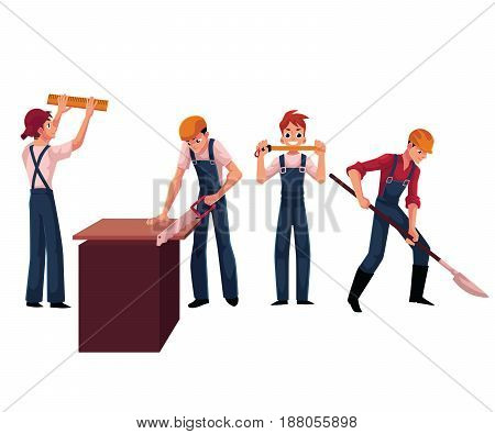 Construction workers, builders wearing helmets and overalls, sawing, digging, measuring, cartoon vector illustration isolated on white background. Builders, workers working on construction site