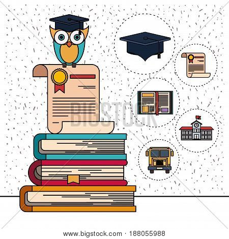 color background with sparkles of owl on certificate and stack of books with education element icons vector illustration