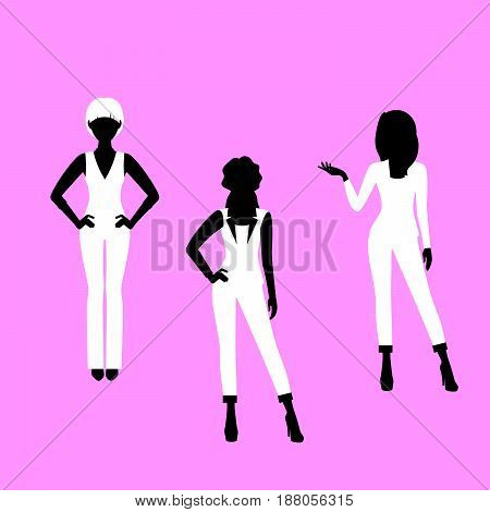Fashion Woman Model In Suit Silhouettes