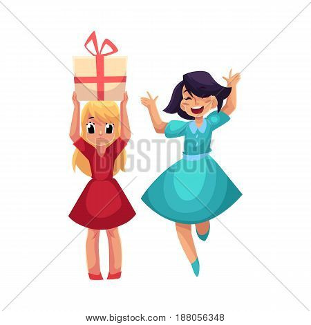 Two girls at birthday party, one dancing, jumping excitedly, another holding big gift, cartoon vector illustration isolated on white background. Happy girls having fun at birthday party